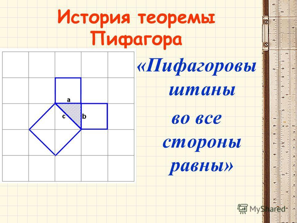 История теоремы Пифагора «Пифагоровы штаны во все стороны равны» 7