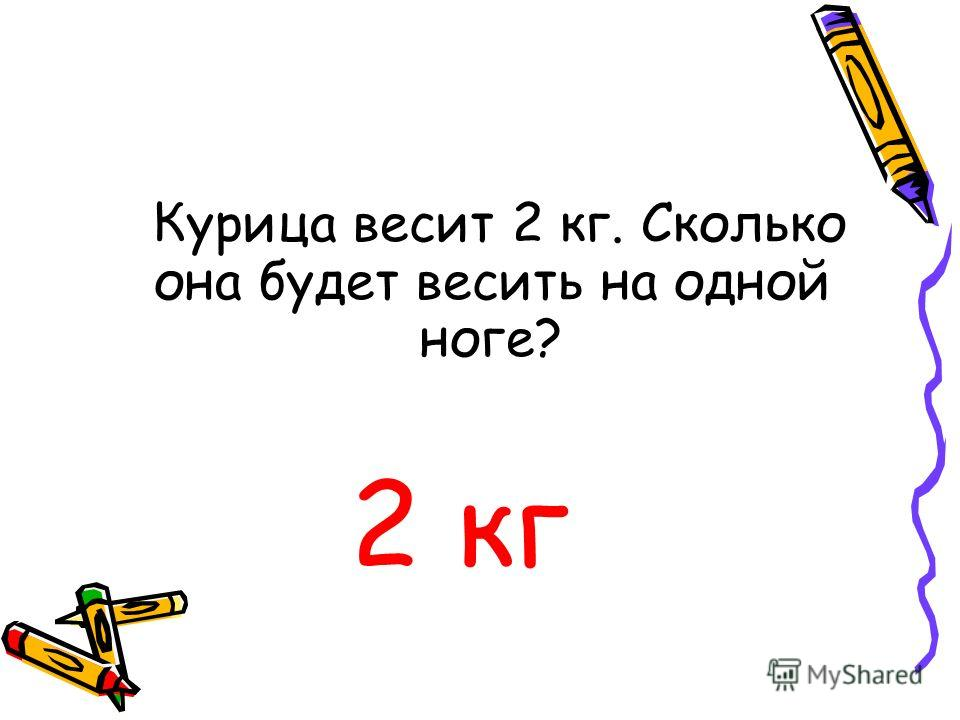 Курица весит 2 кг. Сколько она будет весить на одной ноге? 2 кг