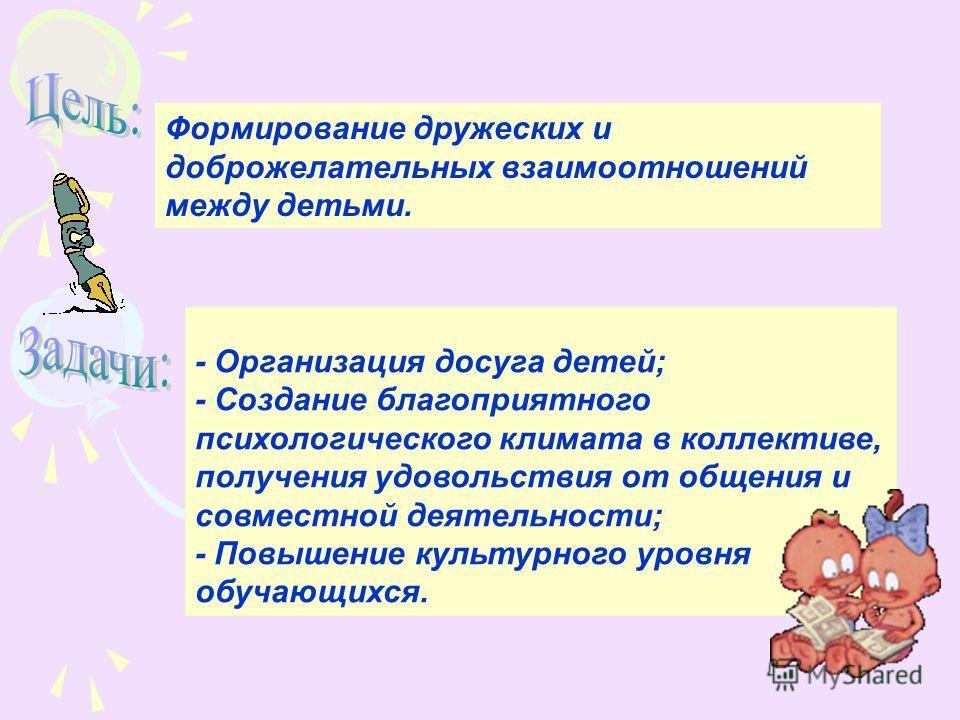 Формирование дружеских и доброжелательных взаимоотношений между детьми. - Организация досуга детей; - Создание благоприятного психологического климата в коллективе, получения удовольствия от общения и совместной деятельности; - Повышение культурного