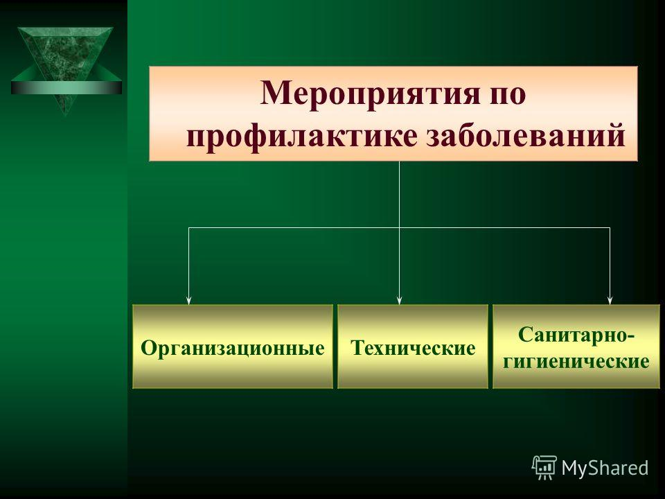 Мероприятия по профилактике заболеваний Организационные Технические Санитарно- гигиенические