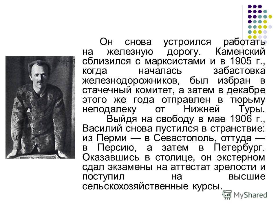 Он снова устроился работать на железную дорогу. Каменский сблизился с марксистами и в 1905 г., когда началась забастовка железнодорожников, был избран в стачечный комитет, а затем в декабре этого же года отправлен в тюрьму неподалеку от Нижней Туры.