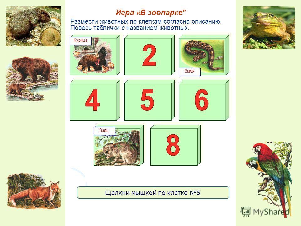 Размести животных по клеткам согласно описанию. Повесь таблички с названием животных. Игра «В зоопарке Курица Змея Заяц Щелкни мышкой по клетке 5
