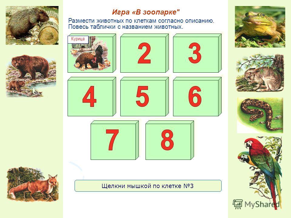 Размести животных по клеткам согласно описанию. Повесь таблички с названием животных. Игра «В зоопарке Курица Щелкни мышкой по клетке 3