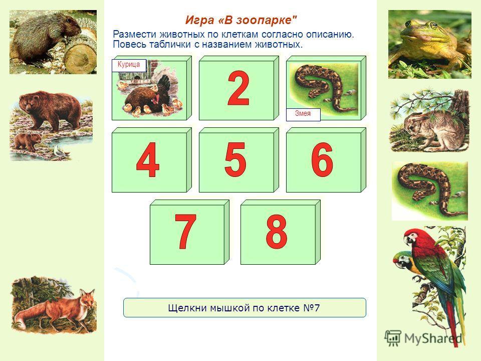 Размести животных по клеткам согласно описанию. Повесь таблички с названием животных. Игра «В зоопарке Курица Змея Щелкни мышкой по клетке 7
