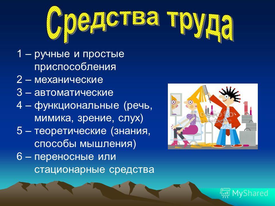 1 – ручные и простые приспособления 2 – механические 3 – автоматические 4 – функциональные (речь, мимика, зрение, слух) 5 – теоретические (знания, способы мышления) 6 – переносные или стационарные средства