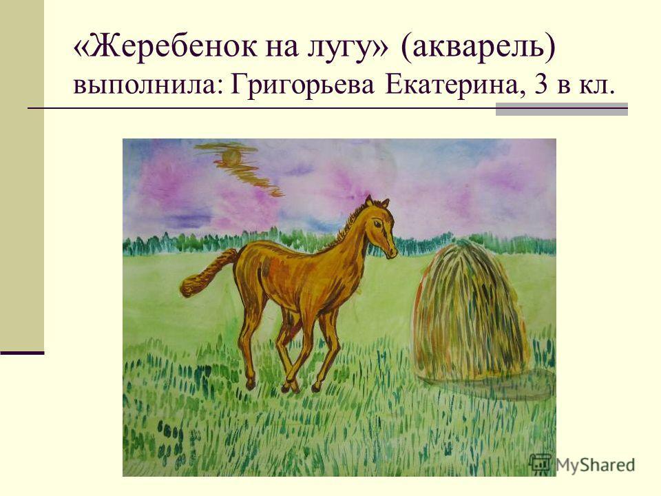 «Жеребенок на лугу» (акварель) выполнила: Григорьева Екатерина, 3 в кл.