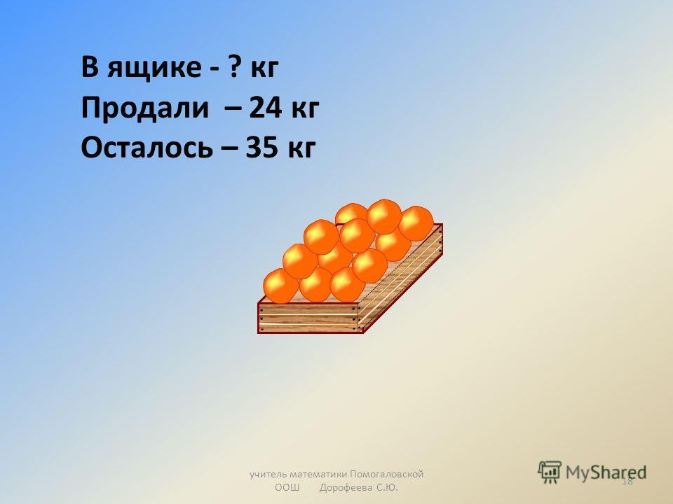учитель математики Помогаловской ООШ Дорофеева С.Ю. В ящике - ? кг Продали – 24 кг Осталось – 35 кг 18