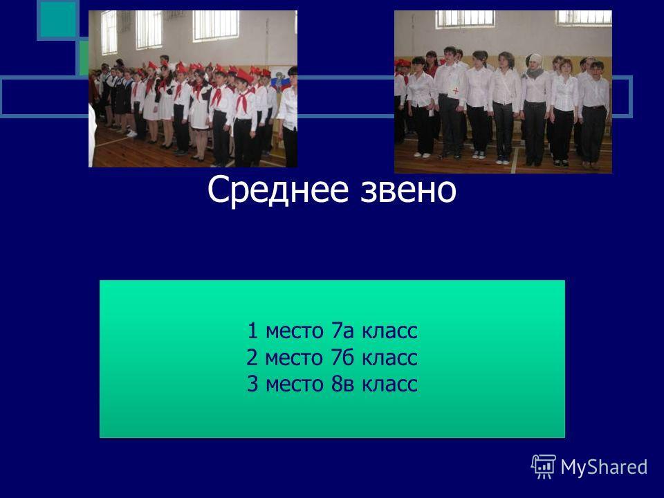 Среднее звено 1 место 7а класс 2 место 7б класс 3 место 8в класс 1 место 7а класс 2 место 7б класс 3 место 8в класс