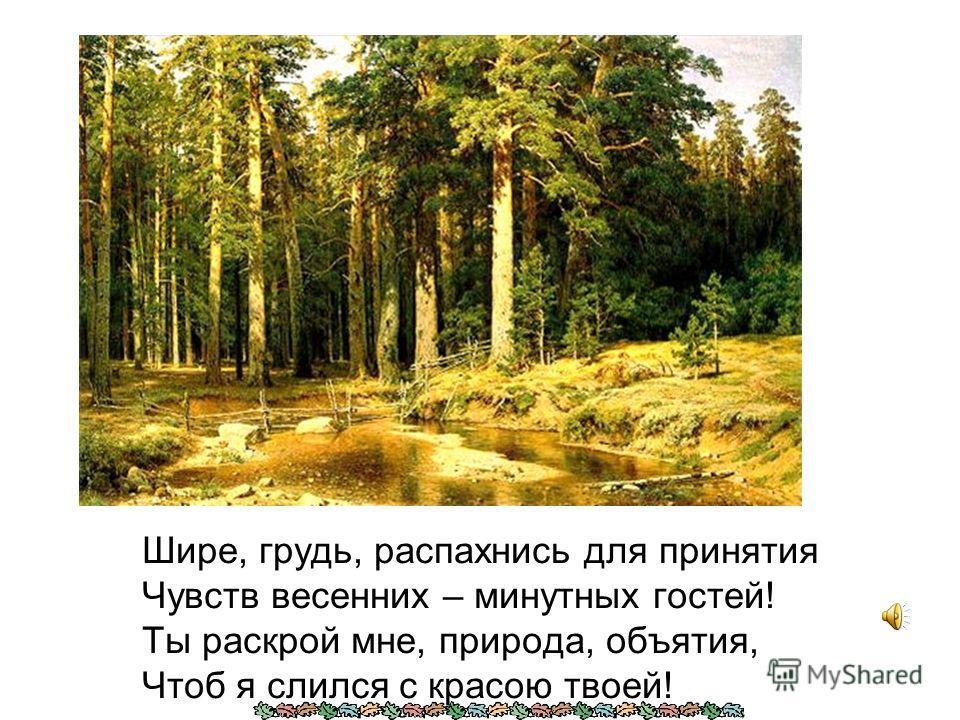 Шире, грудь, распахнись для принятия Чувств весенних – минутных гостей! Ты раскрой мне, природа, объятия, Чтоб я слился с красою твоей!