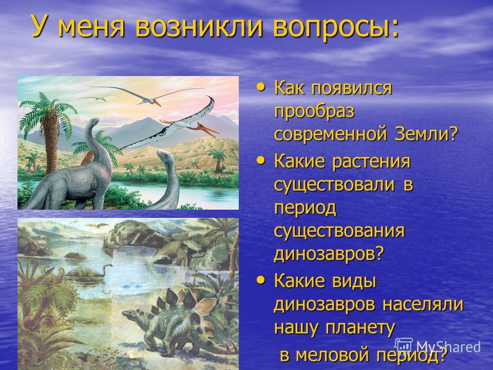 У меня возникли вопросы: Как появился прообраз современной Земли? Как появился прообраз современной Земли? Какие растения существовали в период существования динозавров? Какие растения существовали в период существования динозавров? Какие виды диноза