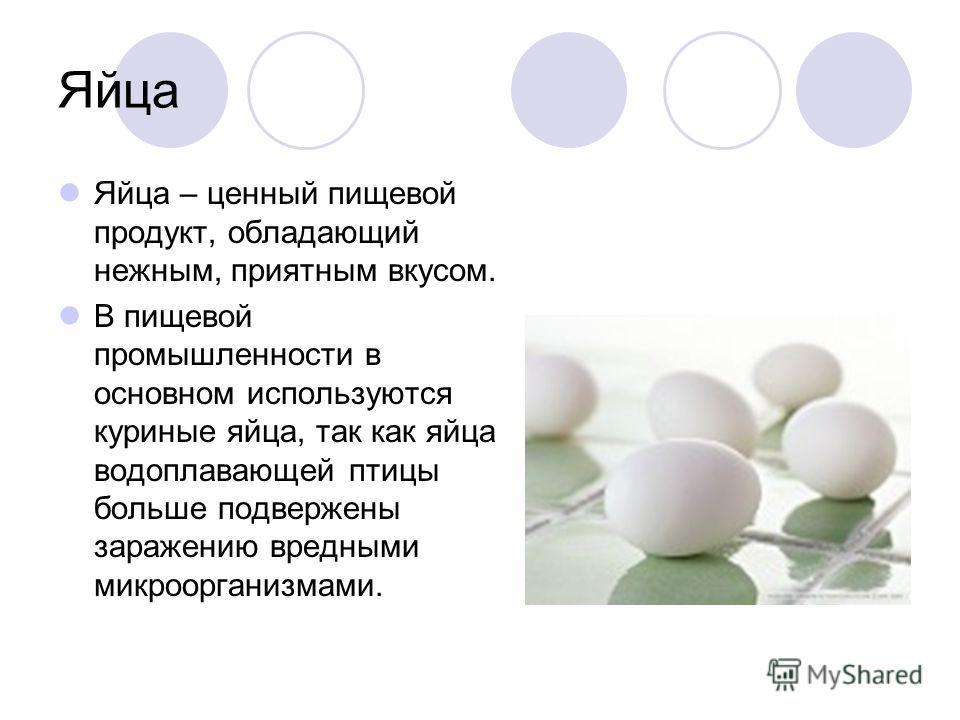 Яйца Яйца – ценный пищевой продукт, обладающий нежным, приятным вкусом. В пищевой промышленности в основном используются куриные яйца, так как яйца водоплавающей птицы больше подвержены заражению вредными микроорганизмами.