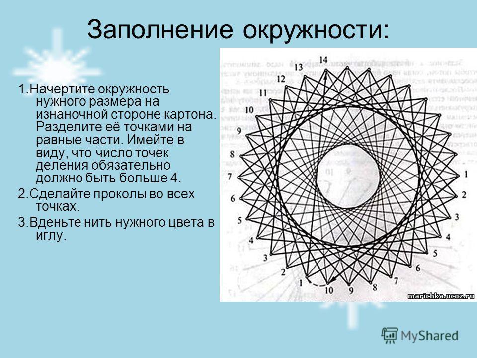 Заполнение окружности: 1.Начертите окружность нужного размера на изнаночной стороне картона. Разделите её точками на равные части. Имейте в виду, что число точек деления обязательно должно быть больше 4. 2.Сделайте проколы во всех точках. 3.Вденьте н