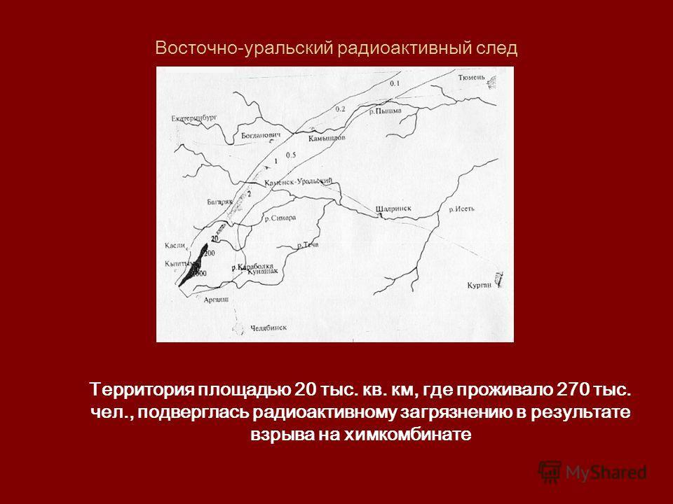 Восточно-уральский радиоактивный след Территория площадью 20 тыс. кв. км, где проживало 270 тыс. чел., подверглась радиоактивному загрязнению в результате взрыва на химкомбинате