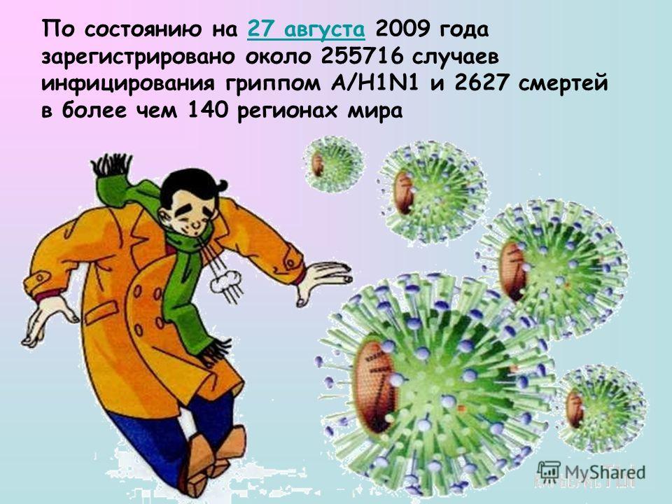 По состоянию на 27 августа 2009 года зарегистрировано около 255716 случаев инфицирования гриппом A/H1N1 и 2627 смертей в более чем 140 регионах мира27 августа