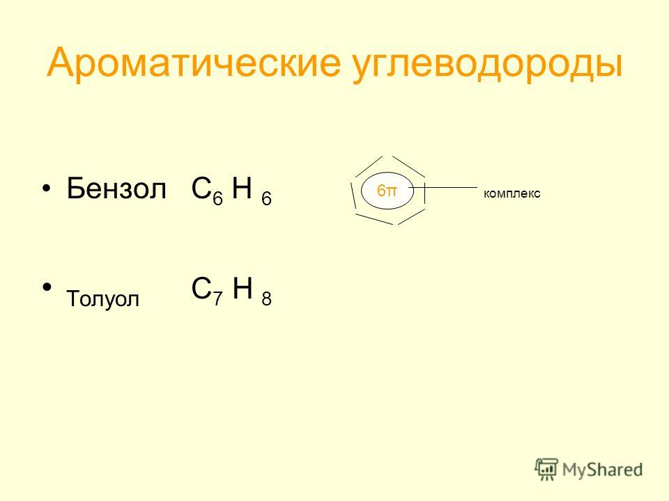 Ароматические углеводороды Бензол С 6 Н 6 Толуол С 7 Н 8 6π6π комплекс