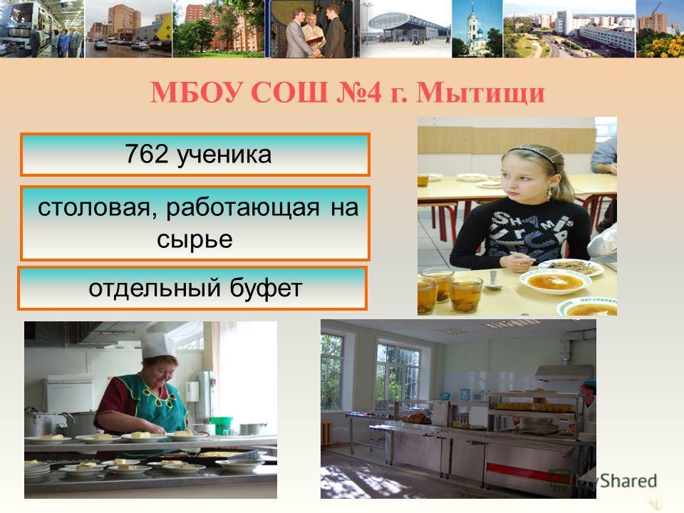 762 ученика столовая, работающая на сырье отдельный буфет МБОУ СОШ 4 г. Мытищи