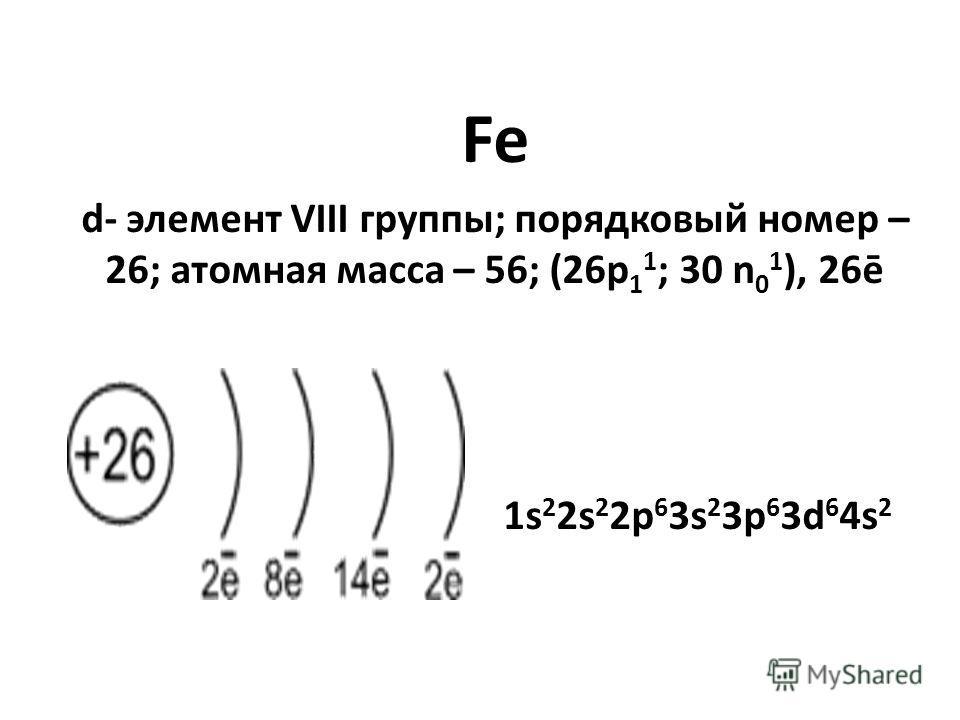 Fe d- элемент VIII группы; порядковый номер – 26; атомная масса – 56; (26p 1 1 ; 30 n 0 1 ), 26ē 1s 2 2s 2 2p 6 3s 2 3p 6 3d 6 4s 2