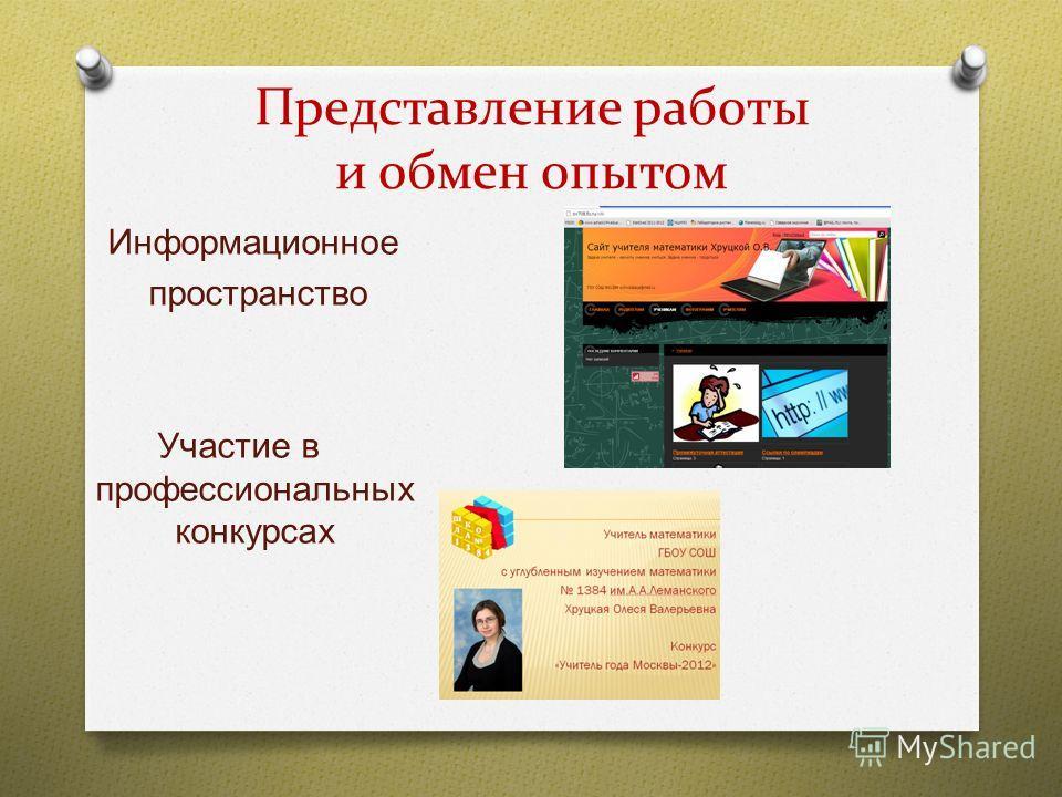 Представление работы и обмен опытом Информационное пространство Участие в профессиональных конкурсах