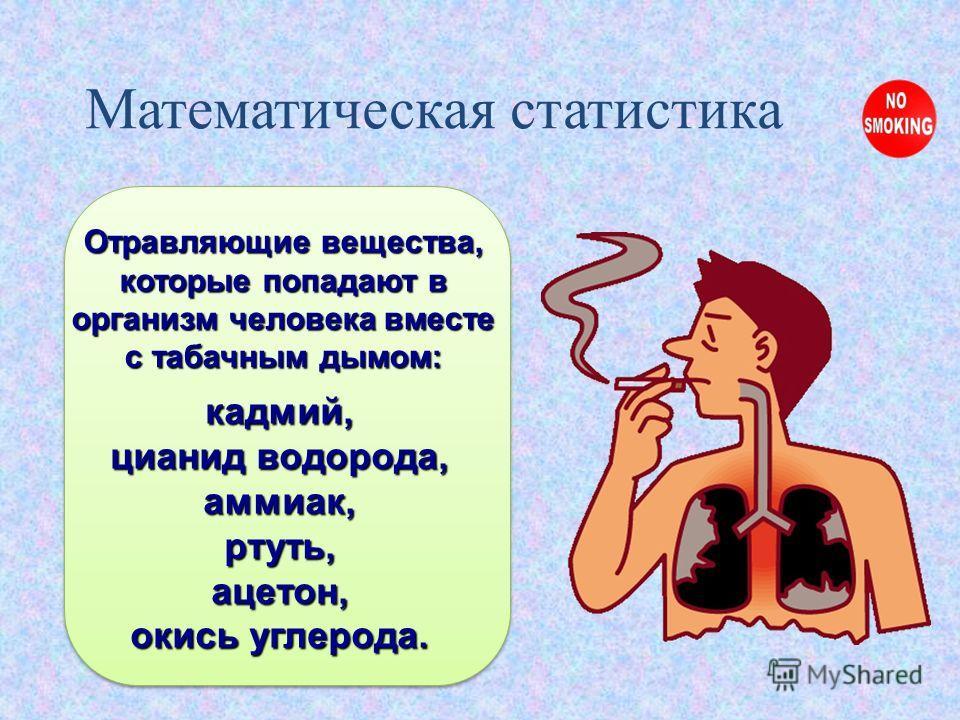 Отравляющие вещества, которые попадают в организм человека вместе с табачным дымом: Математическая статистика кадмий, цианид водорода, аммиак,ртуть,ацетон, окись углерода.