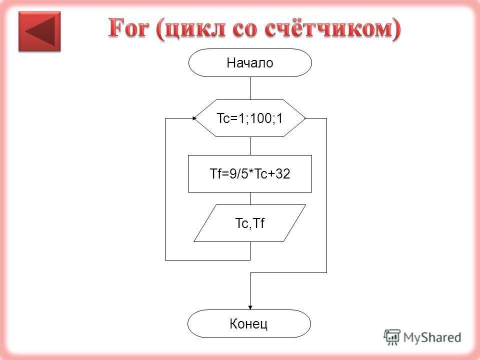 Начало Tf=9/5*Tc+32 Конец Tc=1;100;1 Tc,Tf
