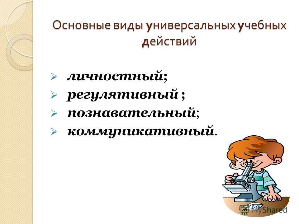 Основные виды универсальных учебных действий личностный; регулятивный ; познавательный; коммуникативный.