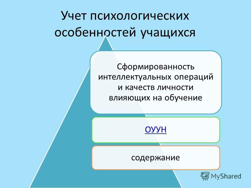 Учет психологических особенностей учащихся Сформированность интеллектуальных операций и качеств личности влияющих на обучение ОУУН содержание