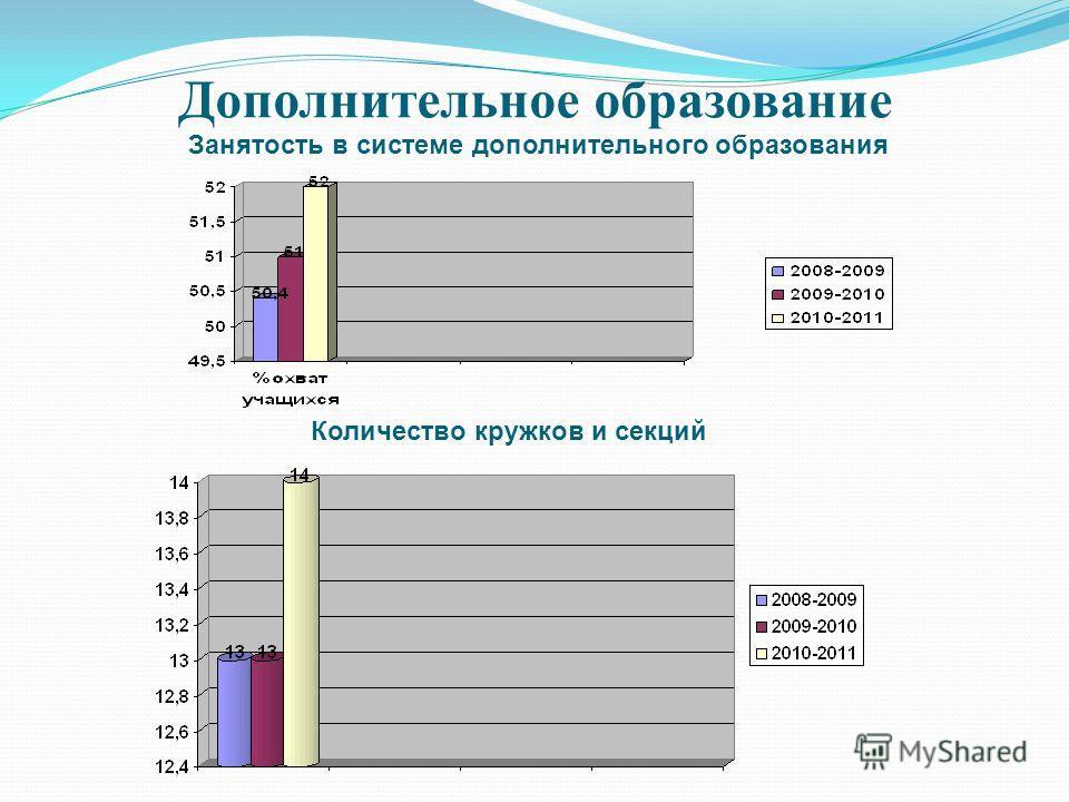 Дополнительное образование Занятость в системе дополнительного образования Количество кружков и секций