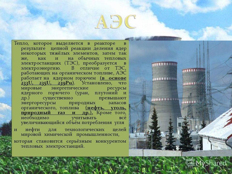 Тепло, которое выделяется в реакторе в результате цепной реакции деления ядер некоторых тяжёлых элементов, затем так же, как и на обычных тепловых электростанциях (ТЭС), преобразуется в электроэнергию. В отличие от ТЭС, работающих на органическом топ