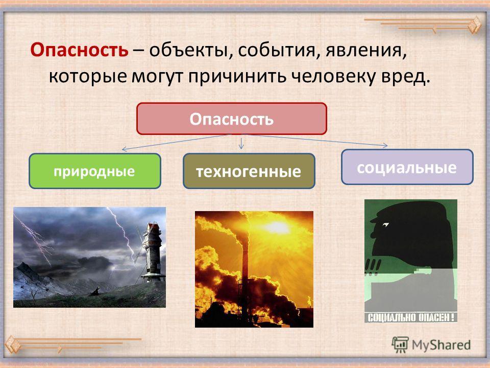 Опасность – объекты, события, явления, которые могут причинить человеку вред. Опасность природные социальные техногенные
