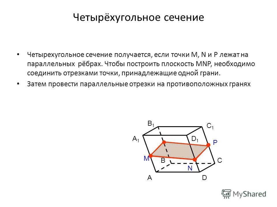 Четырёхугольное сечение Четырехугольное сечение получается, если точки M, N и P лежат на параллельных рёбрах. Чтобы построить плоскость MNP, необходимо соединить отрезками точки, принадлежащие одной грани. Затем провести параллельные отрезки на проти