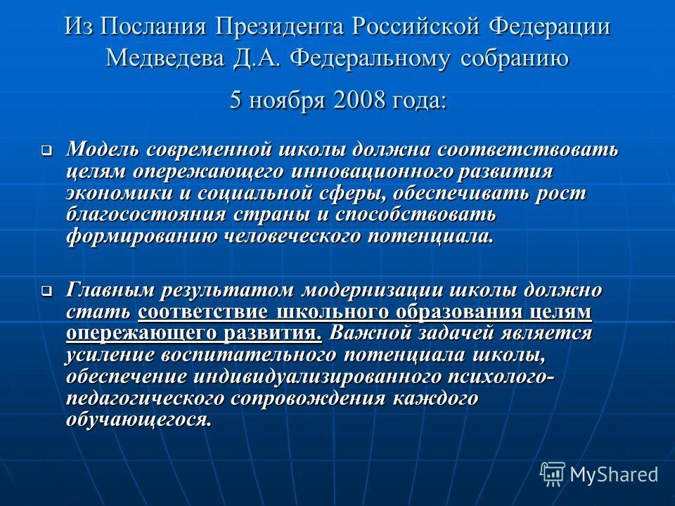Из Послания Президента Российской Федерации Медведева Д.А. Федеральному собранию 5 ноября 2008 года: Модель современной школы должна соответствовать целям опережающего инновационного развития экономики и социальной сферы, обеспечивать рост благососто
