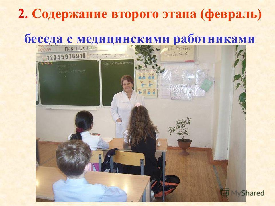 2. Содержание второго этапа (февраль) беседа с медицинскими работниками