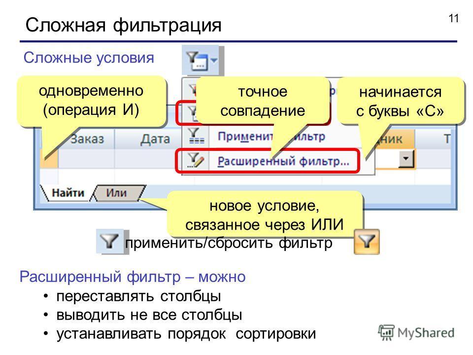 11 Сложная фильтрация Сложные условия одновременно (операция И) одновременно (операция И) начинается с буквы «С» новое условие, связанное через ИЛИ Расширенный фильтр – можно переставлять столбцы выводить не все столбцы устанавливать порядок сортиров