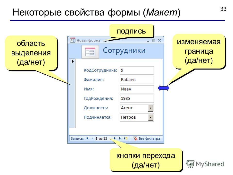 33 Некоторые свойства формы (Макет) подпись кнопки перехода (да/нет) область выделения (да/нет) область выделения (да/нет) изменяемая граница (да/нет) изменяемая граница (да/нет)