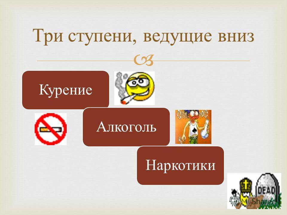 КурениеАлкогольНаркотики Три ступени, ведущие вниз