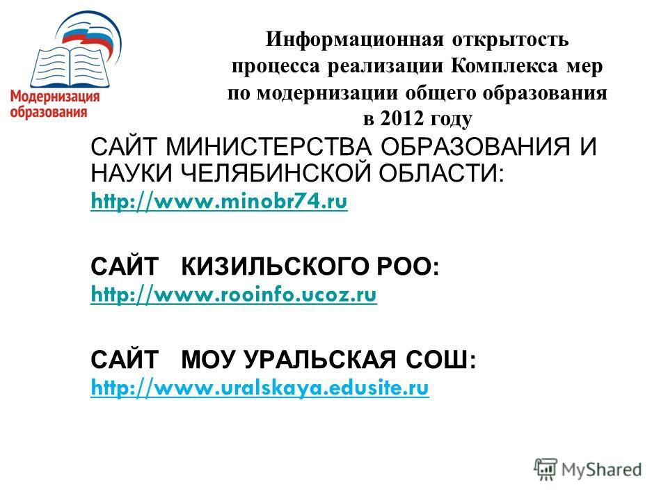 САЙТ МИНИСТЕРСТВА ОБРАЗОВАНИЯ И НАУКИ ЧЕЛЯБИНСКОЙ ОБЛАСТИ: http://www.minobr74.ru http://www.minobr74.ru САЙТ КИЗИЛЬСКОГО РОО: http://www.rooinfo.ucoz.ru http://www.rooinfo.ucoz.ru САЙТ МОУ УРАЛЬСКАЯ СОШ: http://www.uralskaya.edusite.ru Информационна