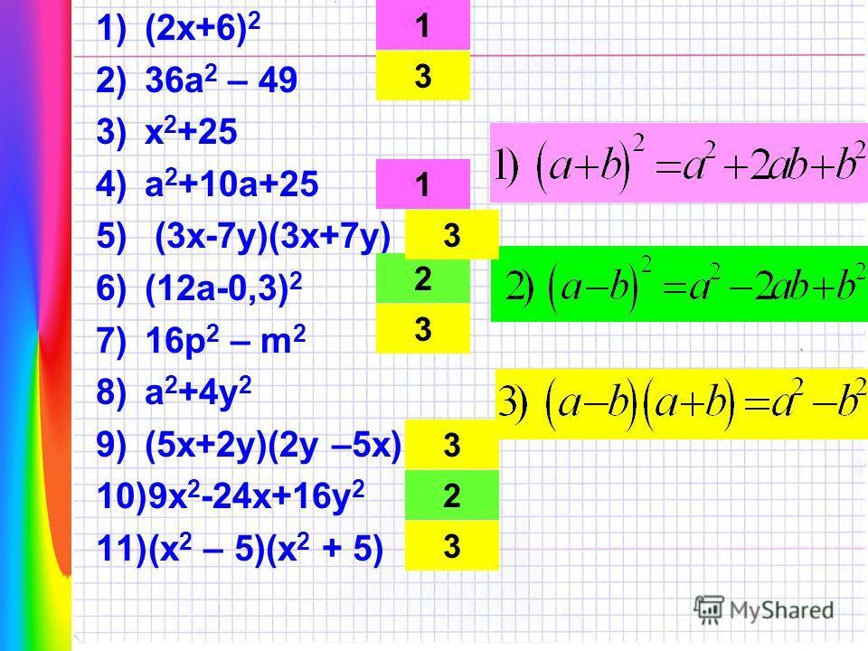 1)(2х+6) 2 2)36а 2 – 49 3)х 2 +25 4)а 2 +10а+25 5) (3х-7у)(3х+7у) 6)(12а-0,3) 2 7)16р 2 – m 2 8)а 2 +4у 2 9)(5х+2у)(2у –5х) 10)9х 2 -24х+16у 2 11)(х 2 – 5)(х 2 + 5) 1 3 1 2 3 3 2 3 3