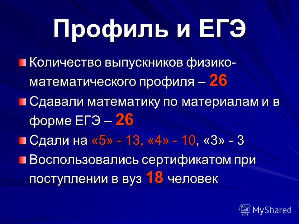 Профиль и ЕГЭ Количество выпускников физико- математического профиля – 26 Сдавали математику по материалам и в форме ЕГЭ – 26 Сдали на «5» - 13, «4» - 10, «3» - 3 Воспользовались сертификатом при поступлении в вуз 18 человек