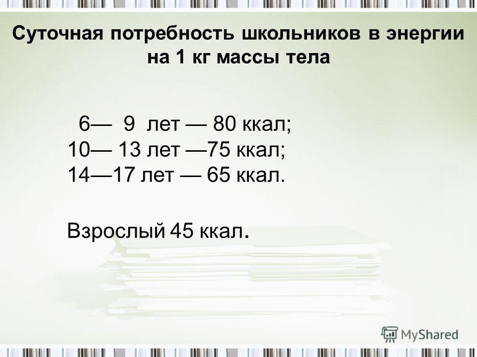 6 9 лет 80 ккал; 10 13 лет 75 ккал; 1417 лет 65 ккал. Взрослый 45 ккал. Суточная потребность школьников в энергии на 1 кг массы тела