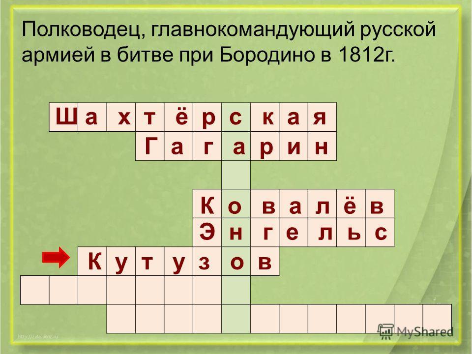 Ш а х т ё р с к а я Г а г а р и н К о в а л ё в Э н г е л ь с К у т у з о в Полководец, главнокомандующий русской армией в битве при Бородино в 1812г.