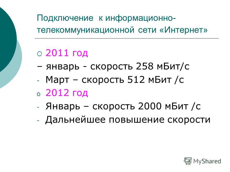 Подключение к информационно- телекоммуникационной сети «Интернет» 2011 год – январь - скорость 258 мБит/с - Март – скорость 512 мБит /с o 2012 год - Январь – скорость 2000 мБит /с - Дальнейшее повышение скорости