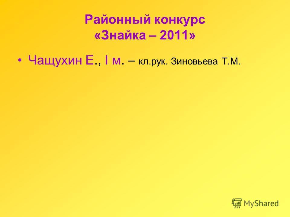 Районный конкурс «Знайка – 2011» Чащухин Е., I м. – кл.рук. Зиновьева Т.М.
