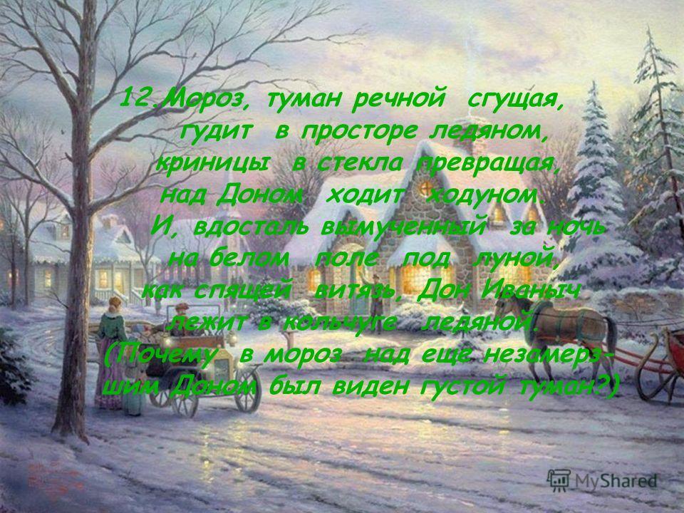 14 12.Мороз, туман речной сгущая, гудит в просторе ледяном, криницы в стекла превращая, над Доном ходит ходуном. И, вдосталь вымученный за ночь на белом поле под луной, как спящей витязь, Дон Иваныч лежит в кольчуге ледяной. (Почему в мороз над еще н