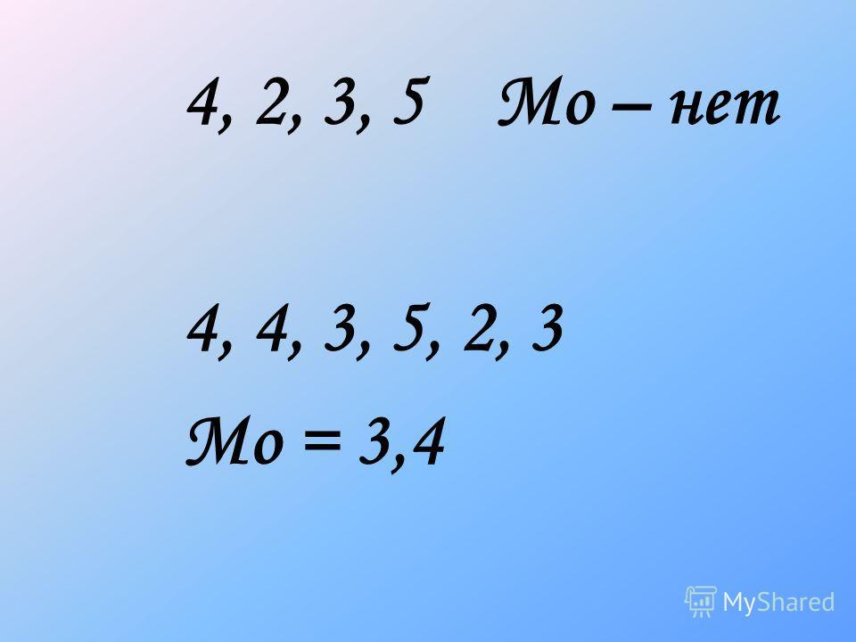 4, 2, 3, 5 Мо – нет 4, 4, 3, 5, 2, 3 Мо = 3,4