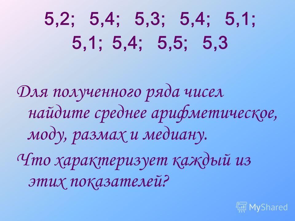 5,2; 5,4; 5,3; 5,4; 5,1; 5,1; 5,4; 5,5; 5,3 Для полученного ряда чисел найдите среднее арифметическое, моду, размах и медиану. Что характеризует каждый из этих показателей?