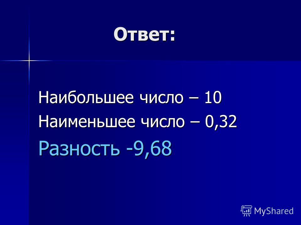 Ответ: Ответ: Наибольшее число – 10 Наименьшее число – 0,32 Разность -9,68