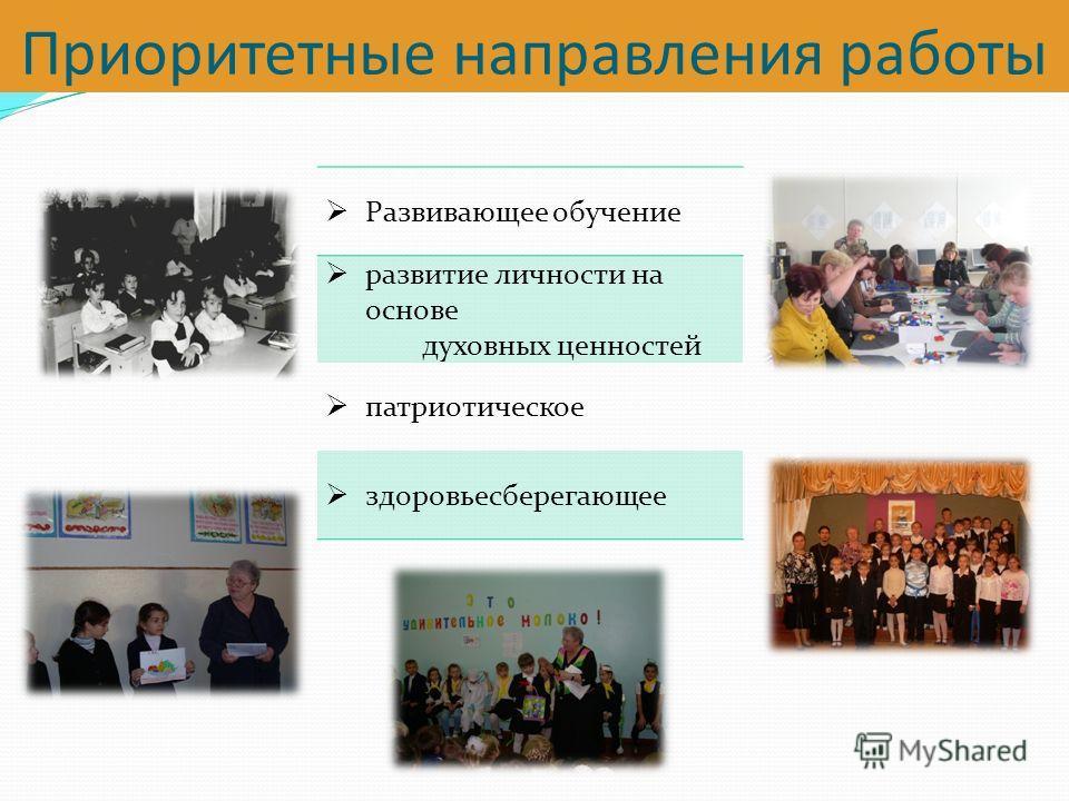 Приоритетные направления работы Развивающее обучение развитие личности на основе духовных ценностей патриотическое здоровьесберегающее