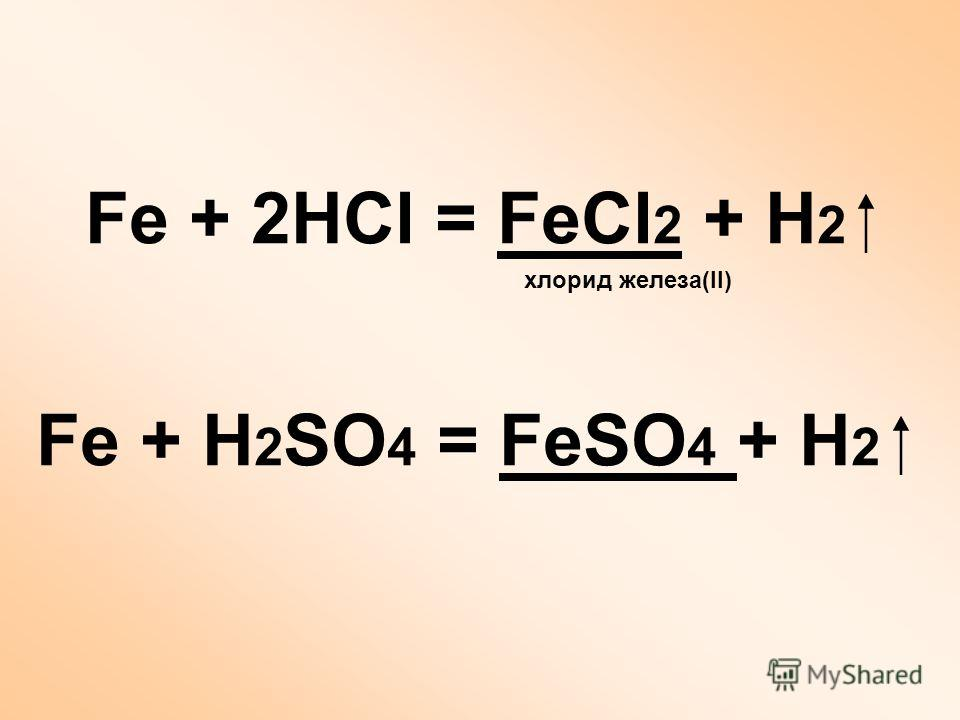 Fe + 2HCl = FeCl 2 + H 2 хлорид железа(II) Fe + H 2 SO 4 = FeSO 4 + H 2