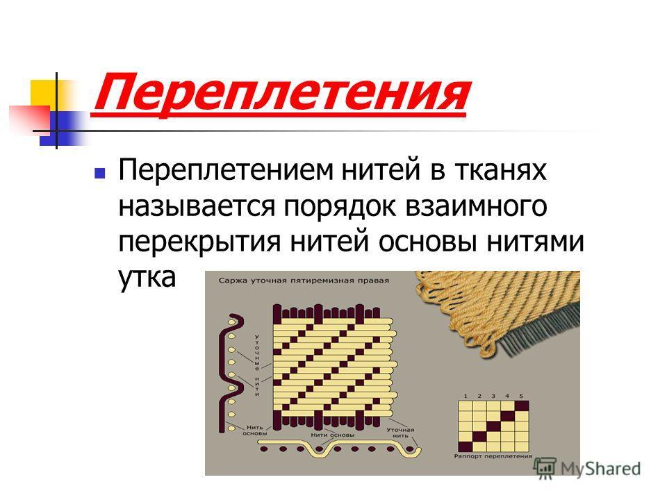 Переплетения Переплетением нитей в тканях называется порядок взаимного перекрытия нитей основы нитями утка