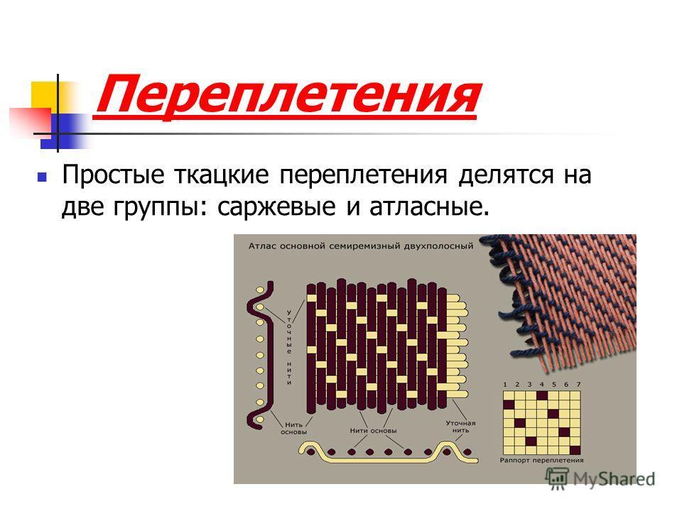 Переплетения Простые ткацкие переплетения делятся на две группы: саржевые и атласные.